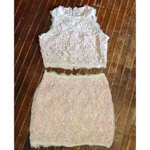 Blush lace two piece crop top and mini skirt